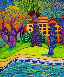 Palm spring Poolside left by Cathy Carey