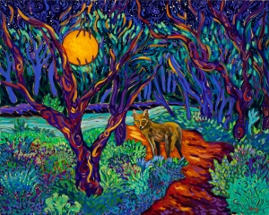 Coyote Night in the Elfin Forest 24 x 30 oil by Cathy Carey ©2014
