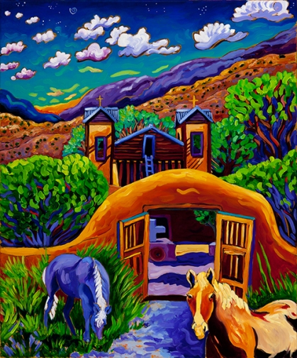 Chimayo horses golden hour web